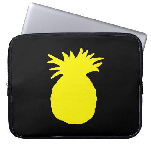 Yellow Pineapple Silhouette Laptop Computer Sleeve