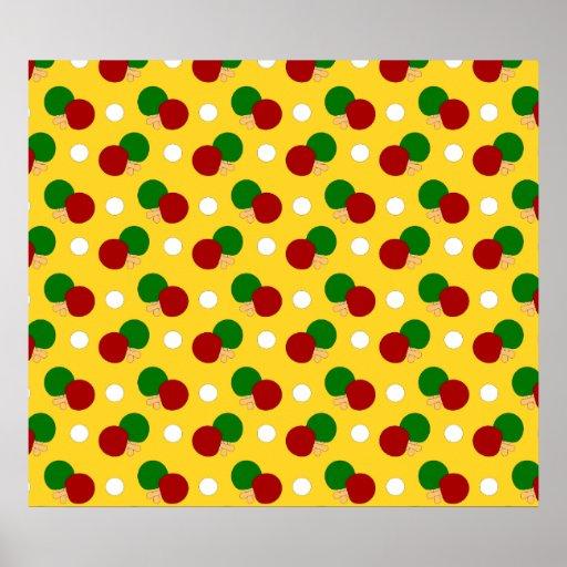 Yellow ping pong pattern poster