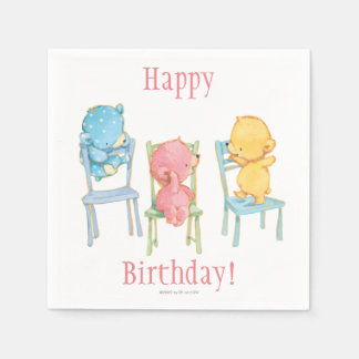 Yellow, Pink, and Blue Bears on Chairs Disposable Serviette