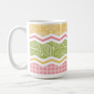 Yellow, Pink, and Green Cute Country Patterns Mug
