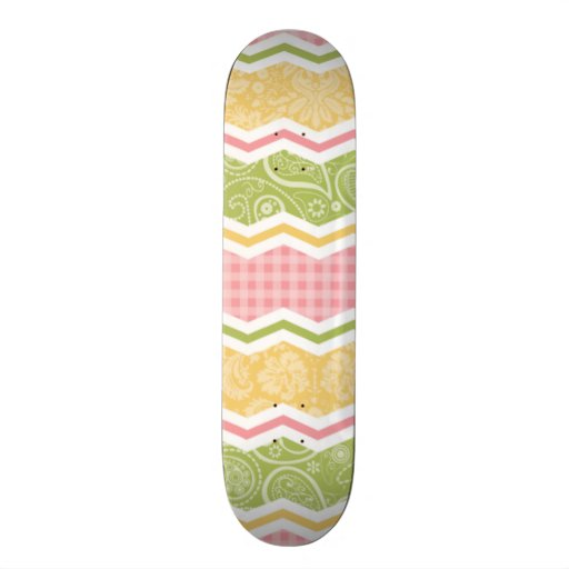 Yellow, Pink, and Green Cute Country Patterns Skateboards