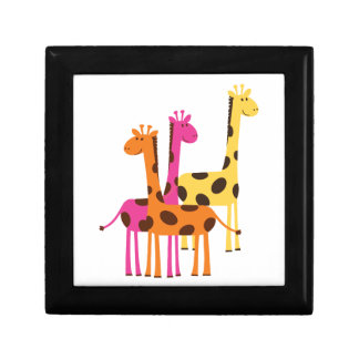 Yellow, Pink and Orange Giraffes Small Square Gift Box