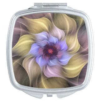 Yellow, Pink and Periwinkle Wispy Fractal Flower Makeup Mirror