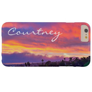 Yellow pink blue clouds sunrise photo custom name barely there iPhone 6 plus case