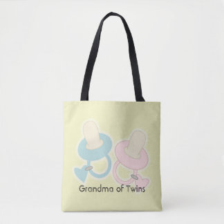 Yellow Pink Blue Grandma Mom Aunt Sister of Twins Tote Bag