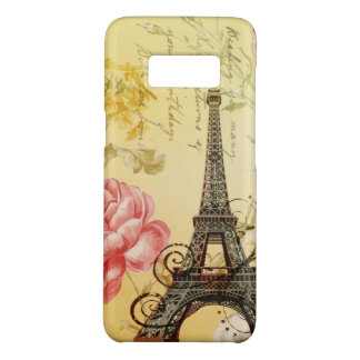 yellow pink floral shabby chic eiffel tower Case-Mate samsung galaxy s8 case