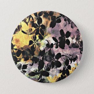 Yellow pink flower pattern floral digital art 7.5 cm round badge