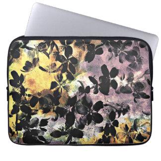 Yellow pink flower pattern floral digital art laptop sleeve