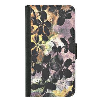 Yellow pink flower pattern floral digital art samsung galaxy s5 wallet case