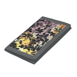 Yellow pink flower pattern floral digital art tri-fold wallet