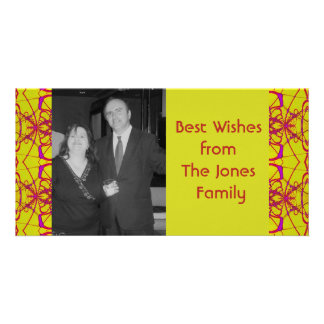 yellow pink fractal personalized photo card