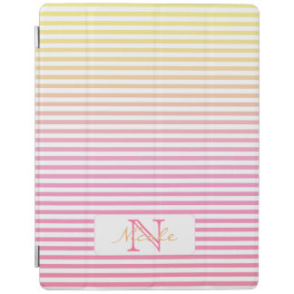 Yellow Pink Gradient Striped Monogrammed iPad Cover