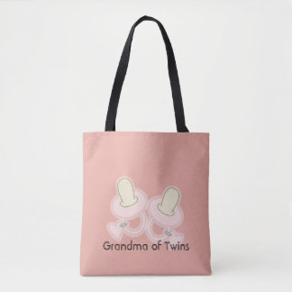 Yellow Pink Grandma Mom Aunt Sister of Twins Tote Bag