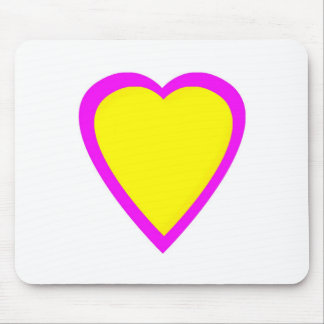 Yellow Pink Heart Mouse Pad