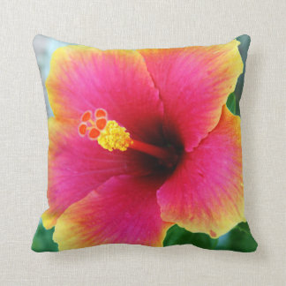 Yellow Pink Hibiscus Pillow Cushion