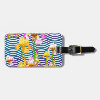 Yellow-Pink Iris Water Garden Bag Tag