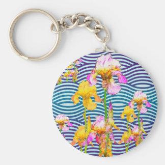 Yellow-Pink Iris Water Garden Basic Round Button Key Ring