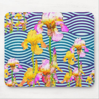Yellow-Pink Iris Water Garden Mouse Pad