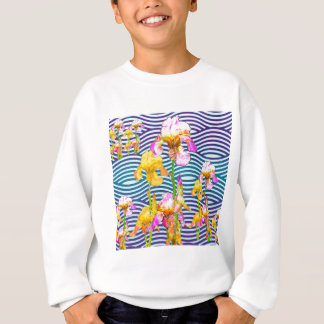 Yellow-Pink Iris Water Garden Sweatshirt