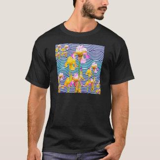 Yellow-Pink Iris Water Garden T-Shirt