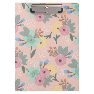 Yellow Pink Mint Orange Spring Floral Clipboard