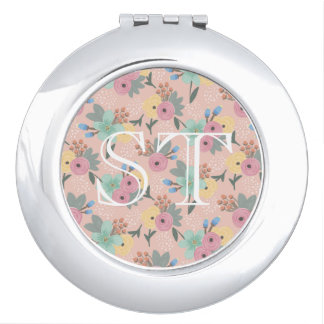 Yellow Pink Mint Orange Spring Floral Compact Compact Mirror