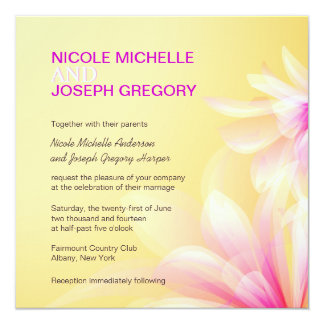 Yellow Pink Modern Floral Wedding Invitations