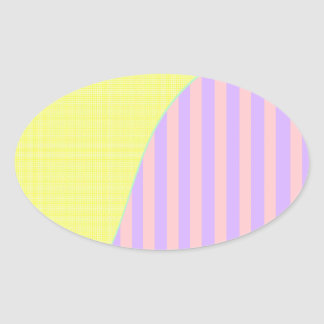 Yellow & pink multi tone striped oval sticker