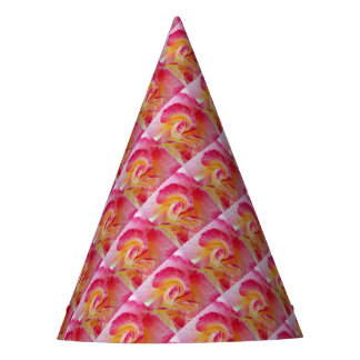 yellow pink petals party hat