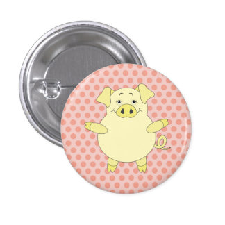 Yellow & Pink Pig Polkadots 3 Cm Round Badge