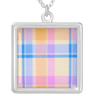 Yellow Pink Plaid Necklace