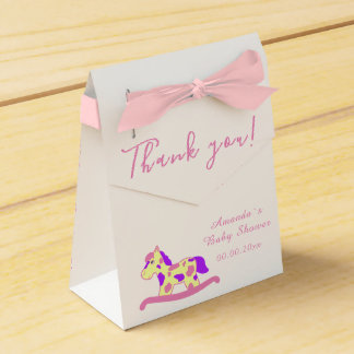 Yellow, Pink Rocking Horse Baby shower Party Favour Box