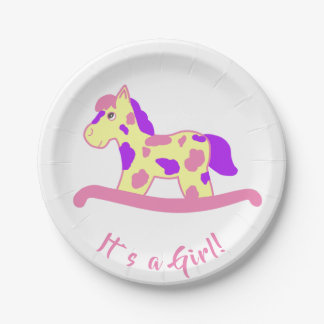 Yellow Pink Rocking Horse Baby Shower with Name Paper Plate