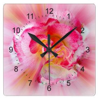 yellow pink Rose Square Wall Clock