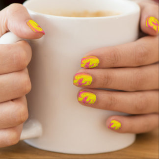Yellow Pink Swirls Abstract Nails Nails Sticker