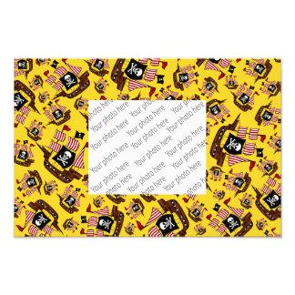 Yellow pirate ship pattern photo art