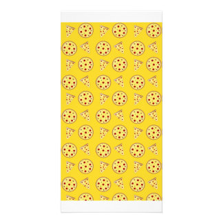 Yellow pizza pattern photo card