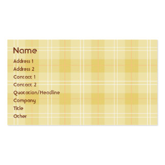 Yellow Plaid - Business Pack Of Standard Business Cards