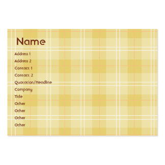 Yellow Plaid - Chubby Large Business Cards (Pack Of 100)