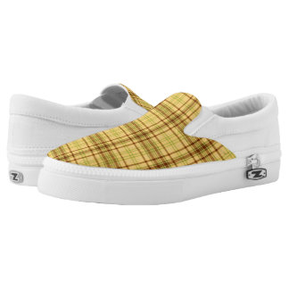 Yellow Plaid Fabric Pattern Shoes