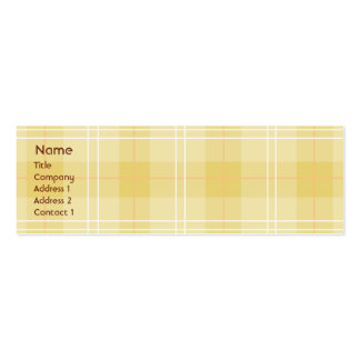 Yellow Plaid - Skinny Double-Sided Mini Business Cards (Pack Of 20)