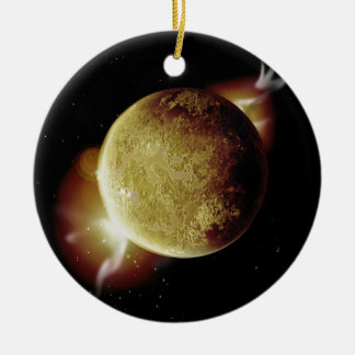 yellow planet 3d illustration in universe ceramic ornament