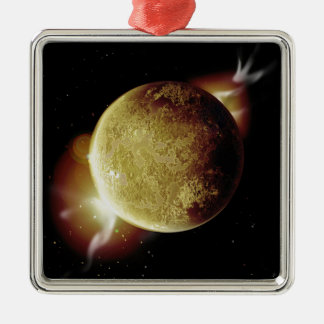 yellow planet 3d illustration in universe metal ornament