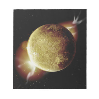 yellow planet 3d illustration in universe notepad