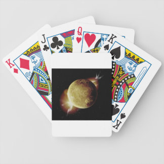 yellow planet 3d illustration in universe poker deck