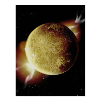 yellow planet 3d illustration in universe postcard