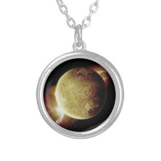 yellow planet 3d illustration in universe silver plated necklace