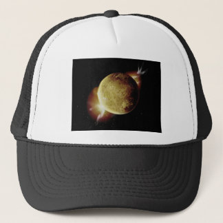 yellow planet 3d illustration in universe trucker hat