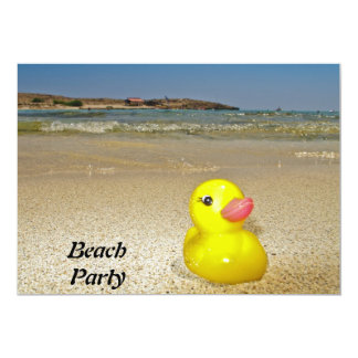 Yellow Plastic Duck at the Beach Party  Invitation