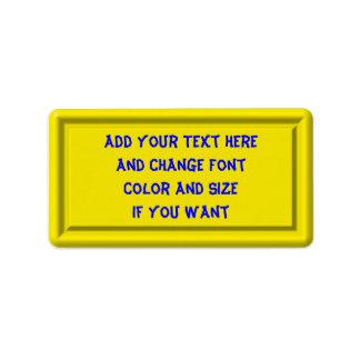 Yellow Plastic Label template